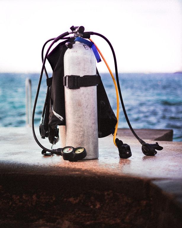 diving equipment setup