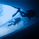 Diver Diving cave underwater wreck